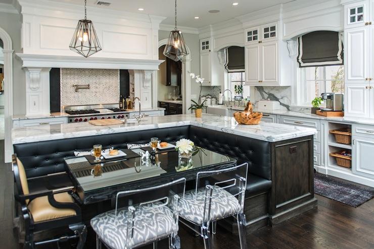 Kitchen island banquette contemporary kitchen vanessa deleon - Kitchen island with banquette ...