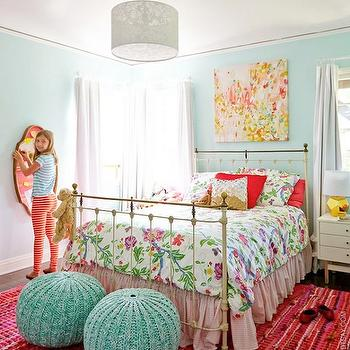 Blue and Pink girl's Room, Eclectic, girl's room, Emily Henderson