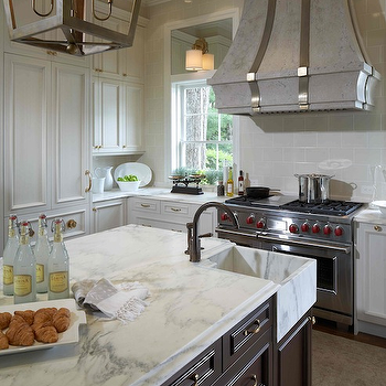 White Marble Kitchen Island, Traditional, kitchen, Design Galleria