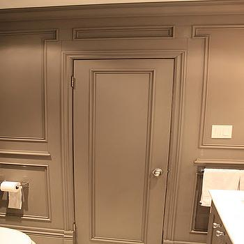 Ronces Reno Diary - bathrooms - gray bathroom, gray walls, gray paint, gray paint color, gray bathroom paint, gray bathroom paint colors, gray bathroom walls, gray moldings, gray bathroom moldings, decorative moldings, gray decorative moldings. gray door, gray bathroom door,