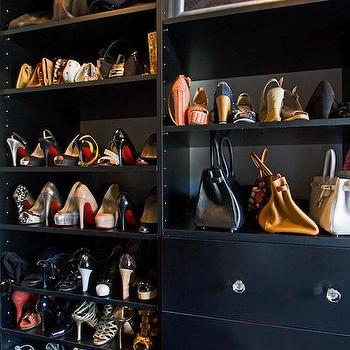 Vanessa Deleon - closets - black shelves, black closet shelving, closet storage, purse storage, purse display, purse closet display, shoe closet display, shoe storage, shoe shelves, shoe display, black closet shelves, black drawers, crystal hardware, handbag storage, walk-in closet shelves, walk-in closet shelving, black shoe shelves, black shelves for shoes,