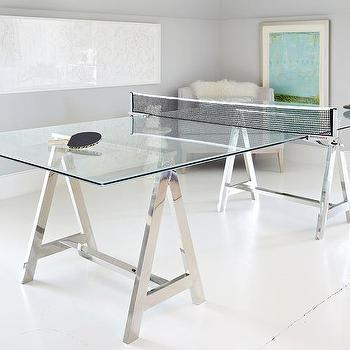 Donna Benedetto Designs - media rooms - Custom Glass and Chrome Ping Pong table, White cut paper artwork by Michael Buscemi, Turquoise artwork by Martin Quen,