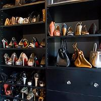 Vanessa Deleon - closets - black shelves, black closet shelving, closet storage, purse storage, purse display, purse closet display, shoe closet display, shoe storage, shoe shelves, shoe display, black closet shelves, black drawers, crystal hardware, handbag storage, walk-in closet shelves, walk-in closet shelving, black shoe shelves, black shelves for shoes,