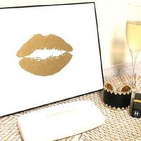 Art/Wall Decor - Art Gold Print 24K Lip Kiss Stylish Gold and White by GildedMint I Etsy - gold lips art, gold lip kiss art, gold kiss art, gold lips kissing art print,