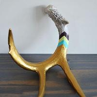 Decor/Accessories - Gold Chevron Stripe I Super Rural: - hand painted deer antler gold chevron striped deer antler, painted antlers, painted deer antler,