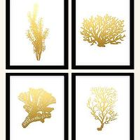 Art/Wall Decor - Art Print 24K Gold Original Seaweed Painting on by GildedMint I Etsy - gold seaweed art, gold seaweed paintings, metallic gold seaweed art,