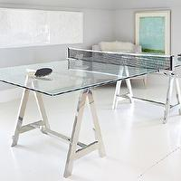 Donna Benedetto Designs - media rooms - Benjamin Moore - Gray Owl - Custom Glass and Chrome Ping Pong table, White cut paper artwork by Michael Buscemi, Turquoise artwork by Martin Quen,