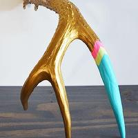 Decor/Accessories - Gold & Aqua I Super Rural - painted deer antler, hand painted deer antler, gold and aqua painted antler,