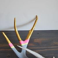 Decor/Accessories - Grey, Gold & Pink I Super Rural - hand painted deer antler, painted antler, gray gold and pink painted antler,