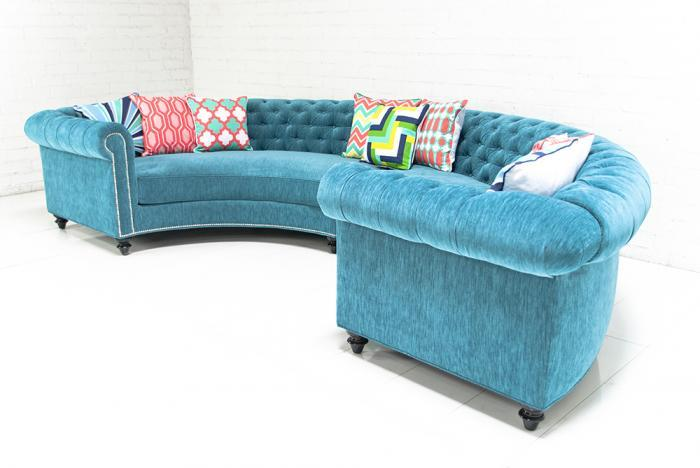 Chesterfield Sectional In Turquoise Velvet I Roomservicestore