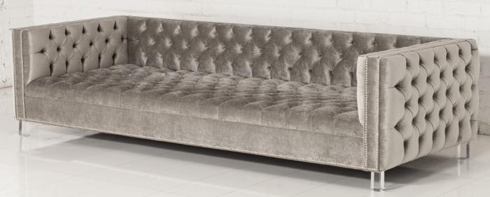 Seating - New Deep Custom Tufted Sofa I roomservicestore - gray velvet tufted sofa, button tufted gray velvet sofa, contemporary button tufted gray velvet sofa,