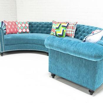 Seating - Chesterfield Sectional In Turquoise Velvet I roomservicestore - chesterfield sectional sofa, turquoise velvet chesterfield sectional, curved chesterfield turquoise velvet sectional,