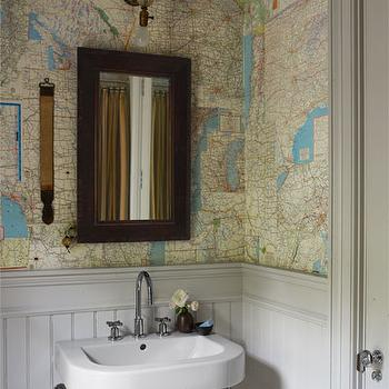Map Wallpaper, Cottage, bathroom, Farrow & Ball Cornforth White, Elle Decor