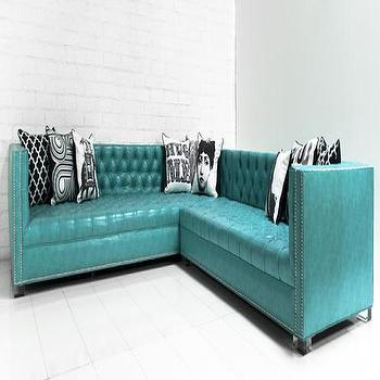 Seating - New Deep Sectional in Maverick Turquoise Faux Leather I roomservicestore - turquoise faux leather tufted sectional, turquoise tufted sectional, faux leather turquoise tufted sectional with nailhead trim,