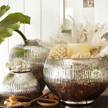 Decor/Accessories - Whittier Mercury Glass Vases | Pottery Barn - mercury glass vases, ribbed mercury glass vases, mercury glass round vase,