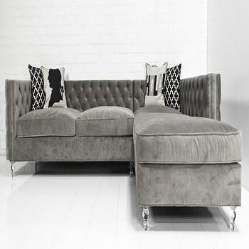Seating - New Deep Inside Out Sectional in Granite Velvet I roomservicestore - gray velvet sectional, gray velvet sectional with button tufting, gray velvet button tufted sectional,