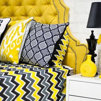 Bedding - Zig Zag Bedding in Yellow/Gray/Black I roomservicestore - yellow gray and black zig zag bedding, zig zag bedding, modern yellow gray and black bedding,