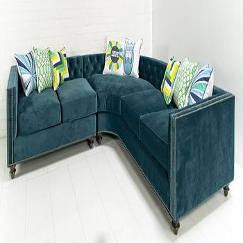 Seating - Hollywood Curved Section in Peacock Velvet I roomservicestore - peacock blue velvet sectional, peacock blue tufted velvet sectional, peacock blue tufted velvet sectional with nailhead trim,