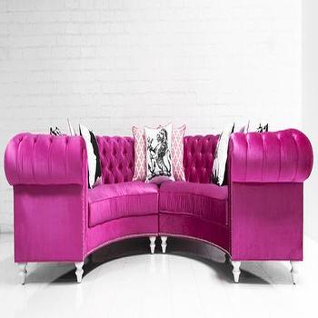 Seating - Chesterfield Circle Sectional in Majestic Very Berry I roomservicestore - chesterfield curved sectional, chesterfield circle sectional, pink velvet chesterfield circle sectional, curved chesterfield sofa,