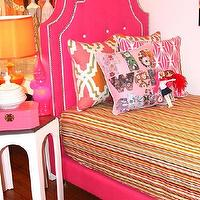 Beds/Headboards - Twin Hollywood Bed - Pink & White I roomservicestore - hot pink tufted bed, hot pink bed with white button tufting, hot pink bed with white button tufting and piping,