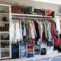 Song of Style - closets - ikea billy, billy bookcase, glass billy bookcase, shoe cabinets, glass door shoe cabinets, shelves for shoes, shoe shelves, designer handbags, shelf for handbags, jean cubbies, sweater cubbies, shirt cubbies, blue gray trellis rug, trellis rug,