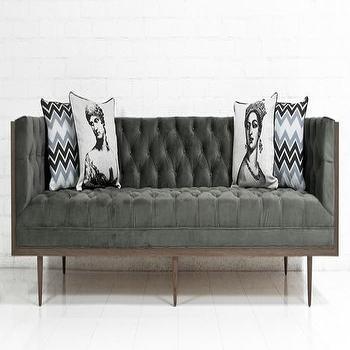 Seating - Koenig Sofa in Bella Pewter Velvet I roomservicestore - pewter velvet tufted sofa, mid-century style tufted velvet sofa, mid-century modern pewter velvet sofa,