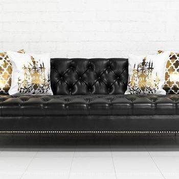 Seating - Sinatra Sofa in Faux Black Leather I roomservicestore - faux black leather tufted sofa, faux black leather tufted sofa with brass nailhead trim, faux black leather sofa with brass nailhead trim and legs,