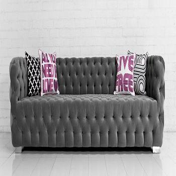 Seating - Boca Sofa in Regal Smoke Velvet I roomservicestore - button tufted gray velvet sofa, contemporary button tufted gray velvet sofa, all-over button tufted velvet sofa,