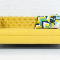 Seating - Hollywood Love Seat I roomservicestore - yellow button tufted sofa, yellow button tufted contemporary sofa, yellow button tufted sofa with chrome legs,