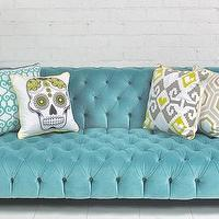 Seating - Boca Tufted Aqua Velvet Sofa I roomservicestore - tufted velvet aqua sofa, tufted aqua blue velvet sofa, tufted aqua blue modern sofa,
