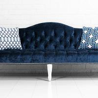 Seating - Mademoiselle Sofa in Brussels Midnight Velvet I roomservicestore - midnight blue velvet sofa, midnight blue tufted velvet sofa, midnight blue velvet hollywood regency style sofa,