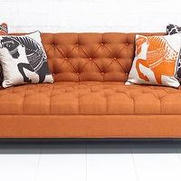 Seating - Hollywood Sofa in Textured Orange Fabric I roomservicestore - orange tufted sofa, orange button tufted sofa, orange button tufted sofa with chrome legs,