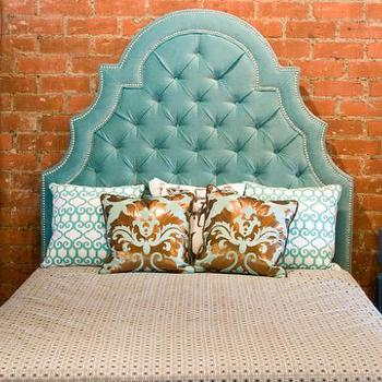 Beds/Headboards - Velvet Tufted Marrakesh Bed I roomservicestore - aqua velvet tufted headboard, aqua velvet hollywood regency headboard, aqua velvet tufted headboard with nailhead trim,