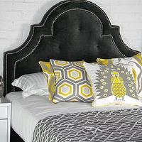 Beds/Headboards - Hollywood Bed in Charcoal Velvet I roomservicestore - charcoal velvet hollywood regency style bed, charcoal gray velvet bed, button tufted charcoal velvet headboard,