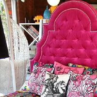 Beds/Headboards - Hot Pink Velvet Marrakesh Bed I roomservicestore - hot pink velvet headboard, hot pink velvet tufted headboard, hot pink velvet tufted headboard with nailhead trim,