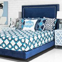 Beds/Headboards - Palm Beach Bed in Navy Velvet I roomservicestore - navy velvet upholstered bed, navy velvet upholstered bed with nailhead trim, navy velvet headboard and bed frame,