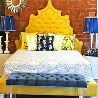 Beds/Headboards - Yellow Casablanca Bed I roomservicestore - tufted yellow bed, button tufted yellow bed, yellow linen tufted bed,