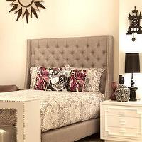 Beds/Headboards - St. Tropez Bed in Silver Grey I roomservicestore - gray tufted headboard with nailhead trim, gray wingback headboard with nailhead trim, gray button tufted headboard with nailhead trim,