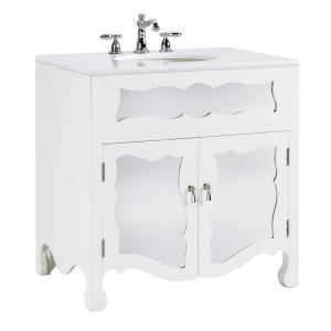 Bath - Home Decorators Collection Reflections 32 in. W Bath Vanity in White-0425600410 at The Home Depot - mirrored vanity, mirrored bathroom vanity, white mirrored vanity