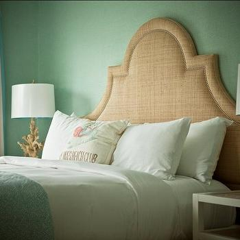 Jonathan Adler - bedrooms - raffia bed, raffia headboard, studded headboard, studded bed, nailhead headboard, nailhead raffia headboard, seafoam green curtains, seafoam green drapes, seafoam green window panels, coral table lamp, white nightstands, seafoam green grasscloth, seafoam green grasscloth wallpaper,