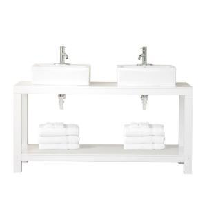 Bath - Home Decorators Collection Parsons 60 in. W Double Vanity in White-0585300410 at The Home Depot - double white vanity,
