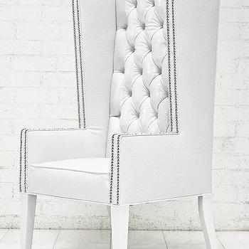 Seating - Ultra Tall Mod Wing Dining Chair in Faux White Croc Leather I roomservicestore - modern white diamond button tufted dining chair, faux white croc leather wing dining chair, white button tufted faux croc leather dining chair with nailhead trim,