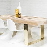 Tables - Fat Brass U-Leg Hickory Dining Table I roomservicestore - brass based wood topped dining table, brass u-leg wood topped dining table, brass u-leg hickory dining table,