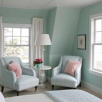 Jonathan Adler - bedrooms - grasscloth, grasscloth wallpaper, blue green grasscloth, blue green grasscloth wallpaper, white curtains, white drapes, white window panels, blue chairs, blue linen chairs, pink geometric pillows, whitewashed table,