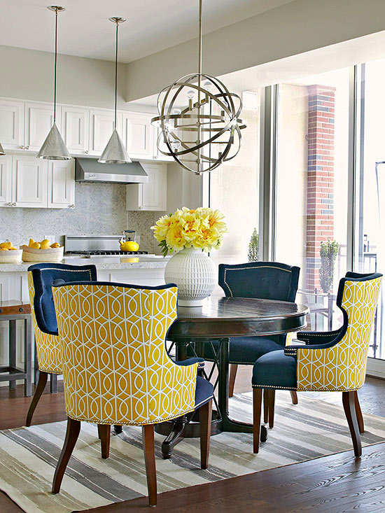 Yellow dining chairs contemporary dining room bhg - Yellow and blue dining room ...