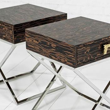 Tables - Brooklyn Side Table in Marblewood I roomservicestore - marblewood side table, modern marblewood side table, chrome based side table with pistol handles,
