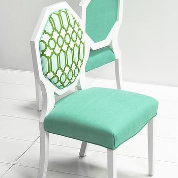 Seating - Octagon Dining Chair with Mint Lattice Fabric I roomservicestore - octagon backed dining chair, white octagon dining chair with mint seat and lattice back, modern mint green and white dining chair,
