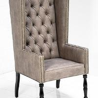 Seating - Ultra Tall Mod Wing Dining Chair in Faux Beige Leather I roomservicestore - faux beige leather tufted wing dining chair, button tufted faux beige leather dining chair, tufted faux leather wing chair,