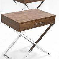 Tables - Custom Oversized Walnut Boca Side Tables I roomservicestore - walnut side table with chrome base, chrome x-leg side table, single drawer walnut side table with chrome x-leg base,