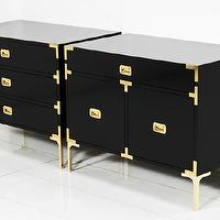 Storage Furniture - Jet Setter Side Tables I roomservicestore - black lacquered side tables with brass legs and hardware, modern black lacquer campaign side tables, black lacquer side table with campaign hardware,
